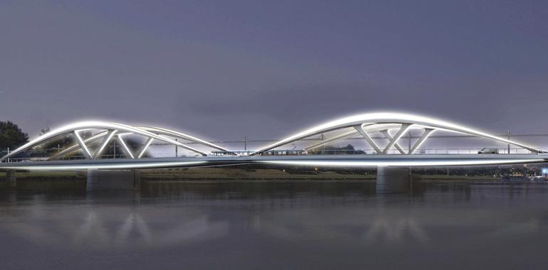 Die Neue Donaubrücke bei Nacht.