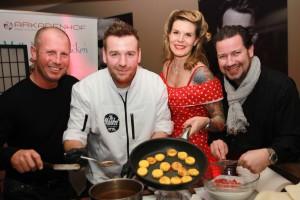 Gewürzhersteller Almi-Eigentümer Alexander Mittermayr, Sat 1-Koch-Show-Gewinner Jan Aigner, die Restaurant Arkadenhof-Chefs Jenny und Rene Weber