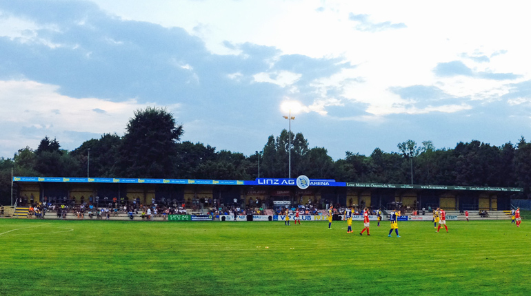 Platz für 2.500 Fans: das Stadion von ASKÖ Donau Linz