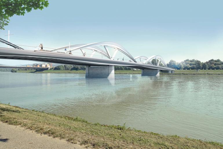 Die neue Eisenbahnbrücke – hier noch als Rendering.