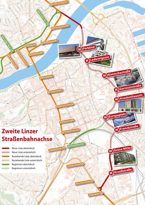 Der Streckenplan der zweiten Bim-Achse durch Linz