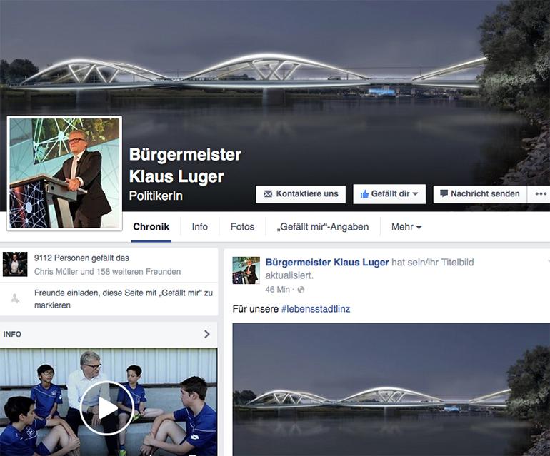 Die neue Donaubrücke dient bei Bürgermeister Klaus Lugers Facebook-Auftritt als Eyecatcher.