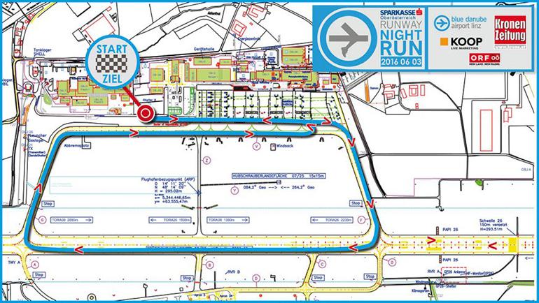 Der neue Streckenverlauf des Runway Nigth Run