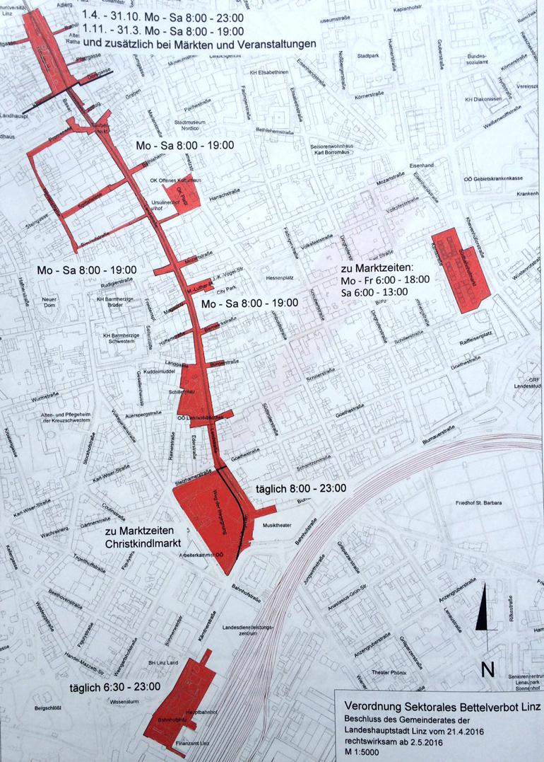 Die im Mai 2016 eingeführten Bettelverbotszonen in der Innenstadt haben sich bewährt.