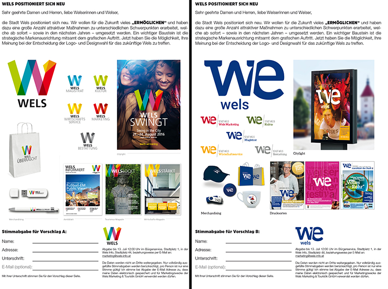 Die beiden Abstimmungsformulare mit den Einsatzmöglichkeiten des neuen Wels-Logos.