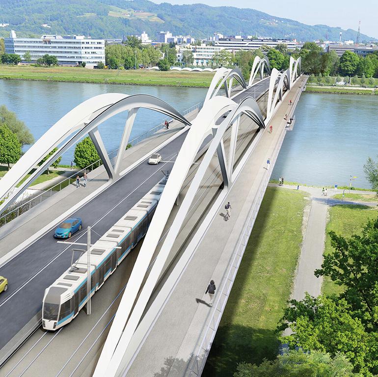 Ab Herbst 2020 befahrbar: die Neue Linzer Donaubrücke