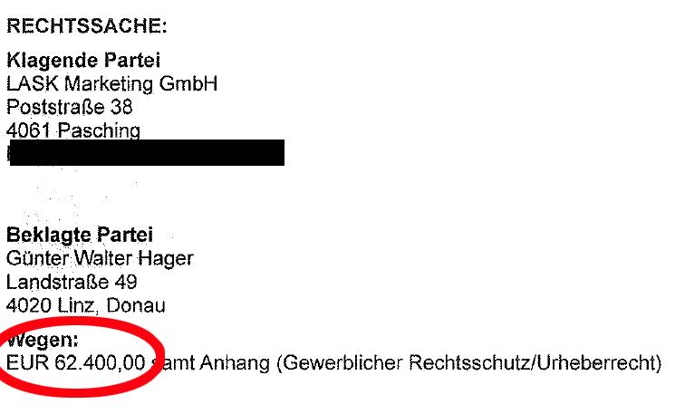 Auszug aus dem Anwaltsschreiben an Günter Hager: Anfangs-Streitwert waren 62.400 Euro.