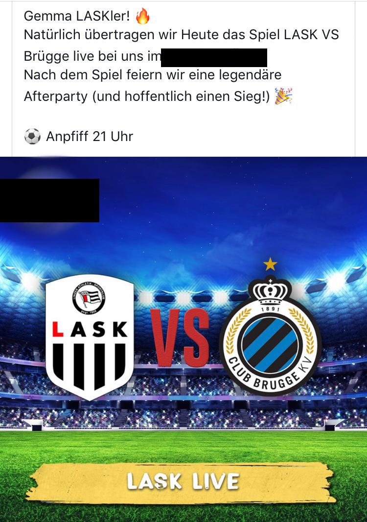Auch andere Lokale warben mit dem LASK-Logo für Liveübertragungen der Europacupspiele, wurden anscheinend bislang aber noch nicht belangt. (Screenshot: Facebook)