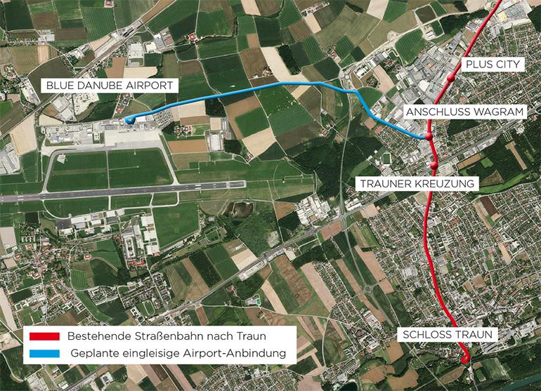 Knapp 2,5km lang wäre die einspurige Straßenbahnanbindung zum Linzer Flughafen