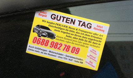 """""""Kaufe Auto""""-Kärtchen: Widerstand zweckslos"""