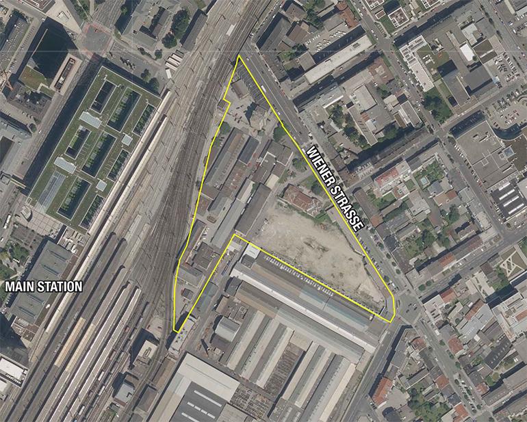 Das 3,6 Hektar große Entwicklungsgebiet zwischen Bahnhof, Wienerstraße und Unionstraße