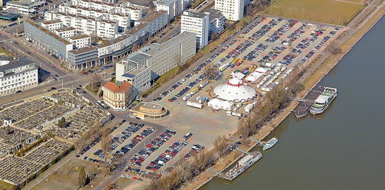 Das Jahrmarktgelände aus der Vogelperspektive (Foto: Pertlwieser/PTU)