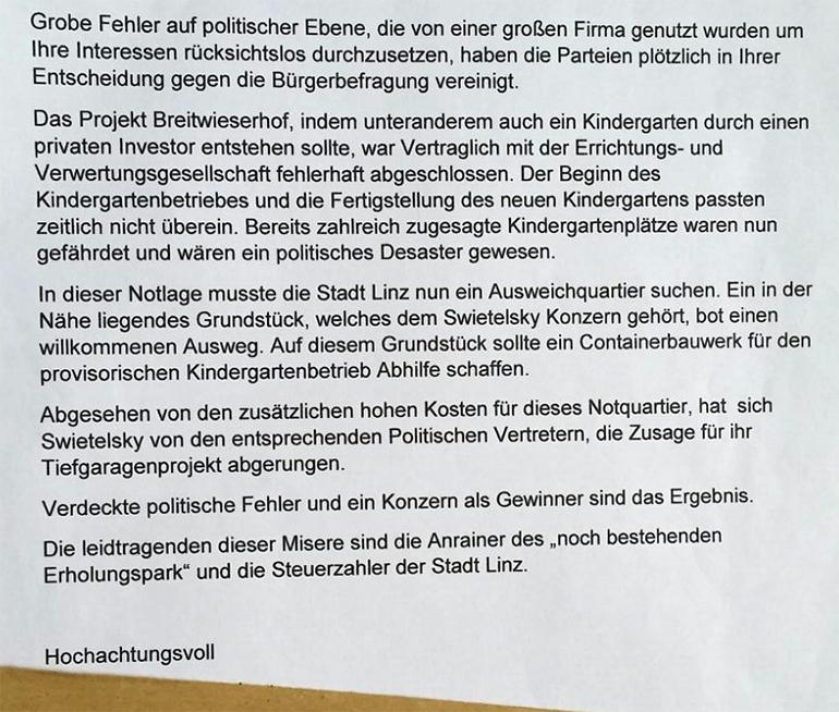 """Auszug des Schreibens: """"Zusage für Tiefgaragenprojekt abgerungen"""""""