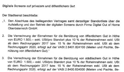 SPÖ-nahe Firma betreibt 14 neue XL-Infoscreens in der City