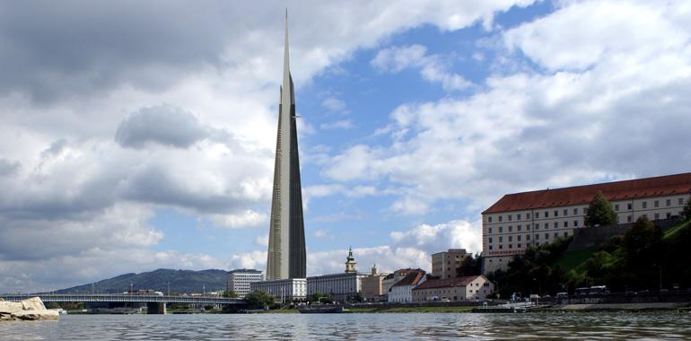 Gewaltig: der Linzer SWAP-Tower mit 450 Metern Höhe
