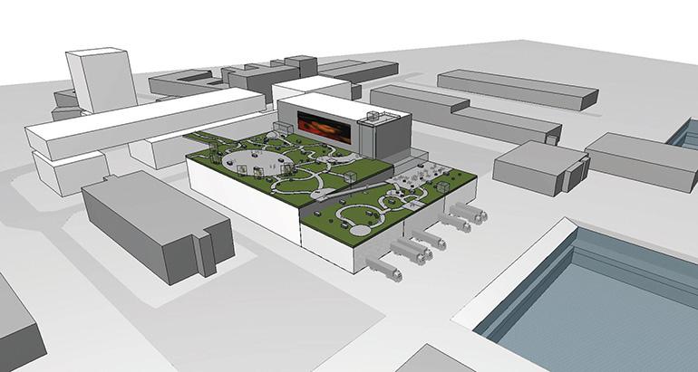 """Kein Wasserzugang: Entwurf der """"Hafenstadt"""", die am Dach einer Lagerhalle entstehen soll."""