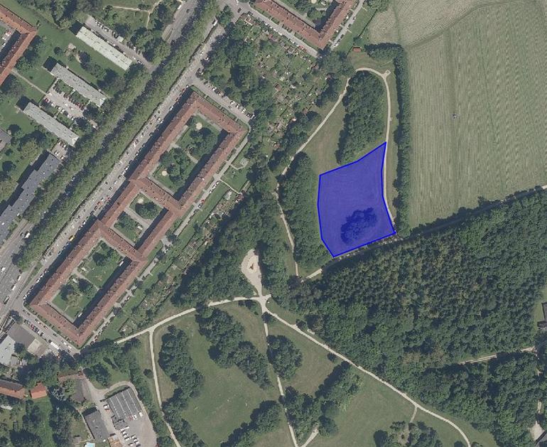 Lageplan der neuen, 5.400qm großen Hundefreilauffläche in Urfahr