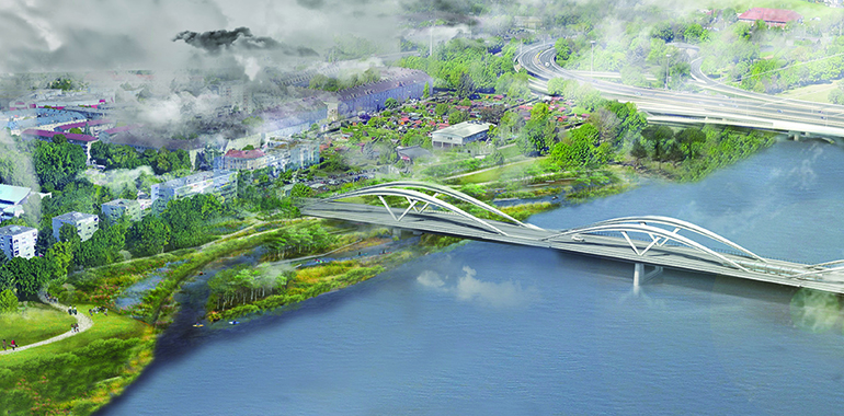 Der dritte Platz mit dem Titel Lendmark(t) bezieht auch das Gelände um die neue Eisenbahnbrücke mit ein.