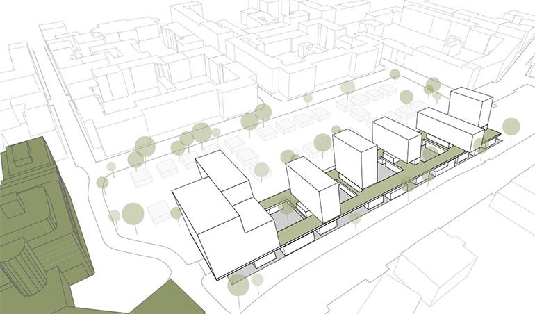 Entwurf einer möglichen Überbauung der Tiefgarage am Südbahnhofmarkt