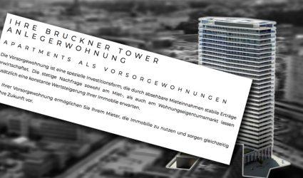 596 Euro Miete für 34 Quadratmeter: Ist der neue Brucknertower ein reines Anlageobjekt?