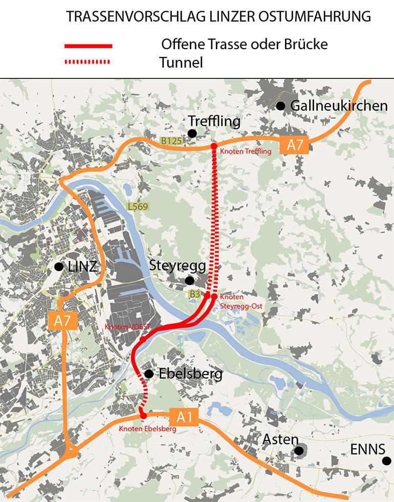 Die Streckenführung der geplanten Linzer Ostumfahrung.