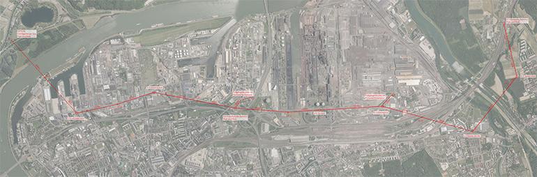 Die geplante Streckenführung der Linzer Seilbahn vom Süden in das Industriegebiet bis nach Steyregg
