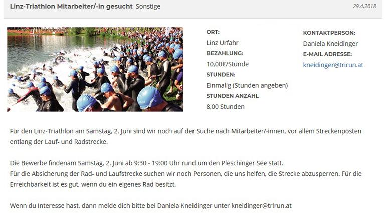 """Helfer gesucht: """"Stelleninserat"""" von TriRun Linz"""