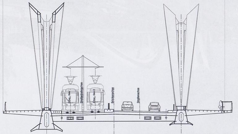 Der 32 Meter breite Querschnitt der Neuen Donaubrücke Linz