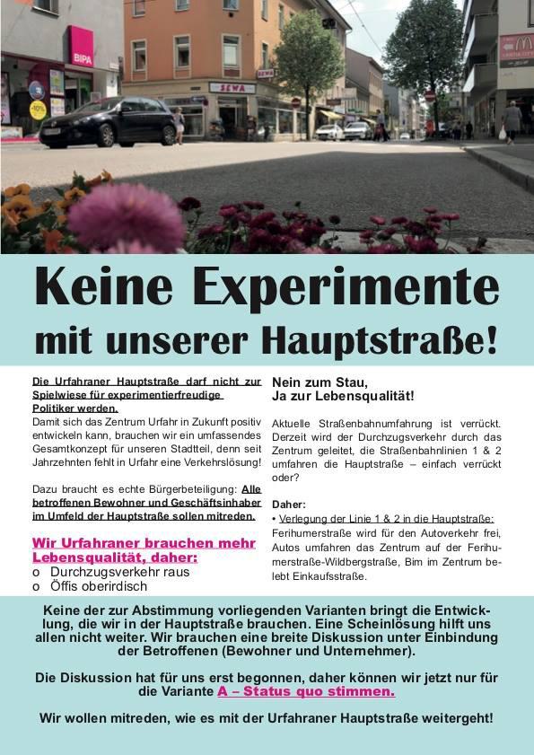 """Flyer der Bürgerinitiative Hauptstraße: """"Status Quo beibehalten"""""""