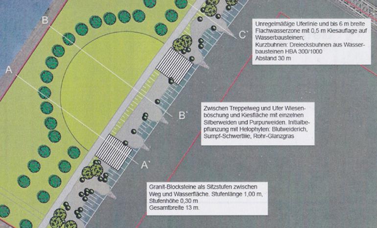 Die geplante Ufergestaltung in Urfahr ermöglicht einen Wasserzugang zur Donau.