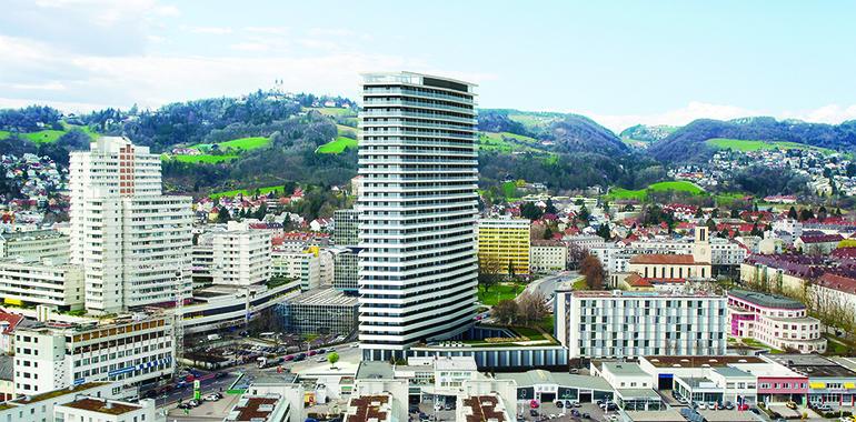 Der 96 Meter hohe Bruckner Tower wird ab 2020 die neue Landmark im Zentrum Urfahrs darstellen.