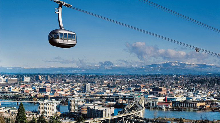 Eines der Vorzeigeprojekte von Doppelmayr: die Aerial Tram von Portland / USA.