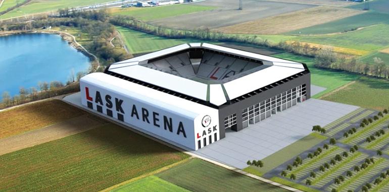 Entwurf der neuen LASK Arena am Pichlingersee