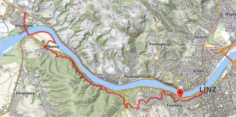 Der Prinzensteig führt durch das Donautal nach Linz (Screenshot: Bergfex.at bzw. googlemaps)