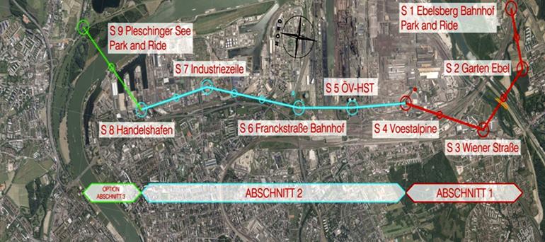 Die mögliche Streckenführung der Linzer Stadtseilbahn von Ebelsberg im dem Linzer Hafen