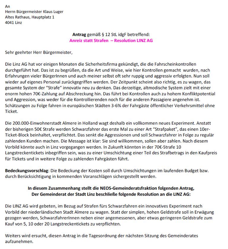 """Der NEOS-Gemeinderatsantrag """"Anreiz statt Strafen"""""""