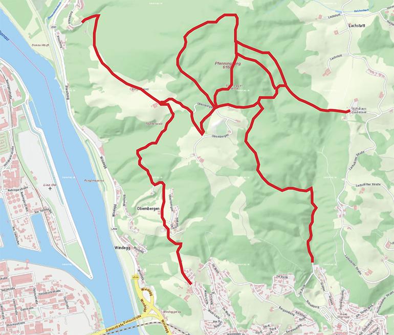 Übersicht über die in Kürze neu freigegebenen (rot) MTB Strecken (Plan: doris.at)