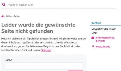 """""""Seite nicht gefunden"""": Neuer Internetauftritt der Stadt Linz holpert"""