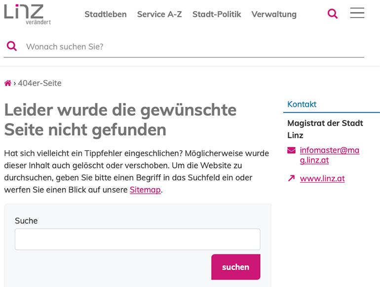 """""""Leider nicht gefunden"""" – der neue Internetauftritt der Stadt Linz hatscht noch ein wenig."""