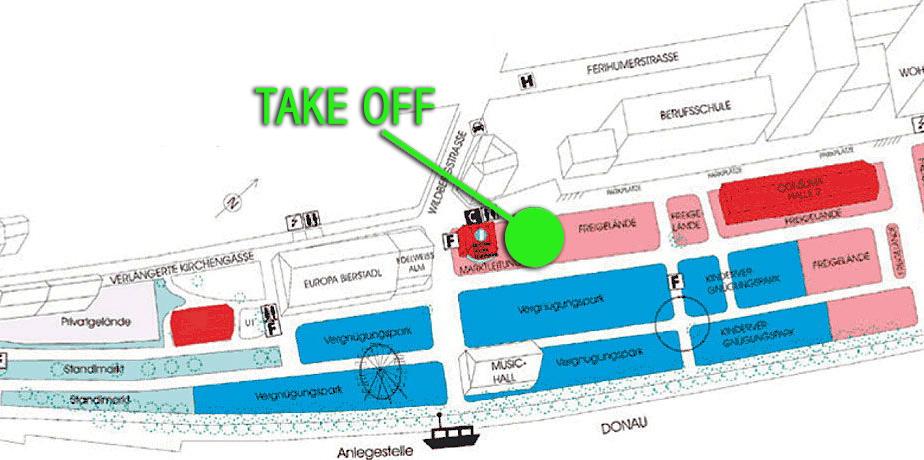 """Bitte einsteigen: Die neue Attraktion """"Take Off"""" wird direkt neben dem Marktgebäude zu finden sein."""