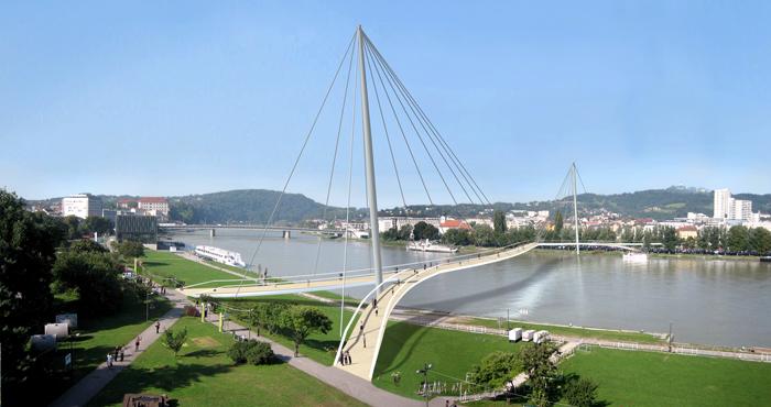 Ein weiteres eingereichtes Projekt des Architektenwettbewerbs für einen Linzer Donausteig im Jahr 2005.
