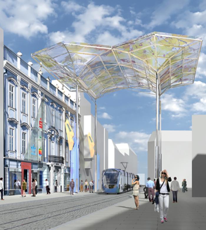 Das geplante Flugdach über dem Taubenmarkt soll bis 2021 realisiert werden. (Rendering: Sparkasse OÖ)
