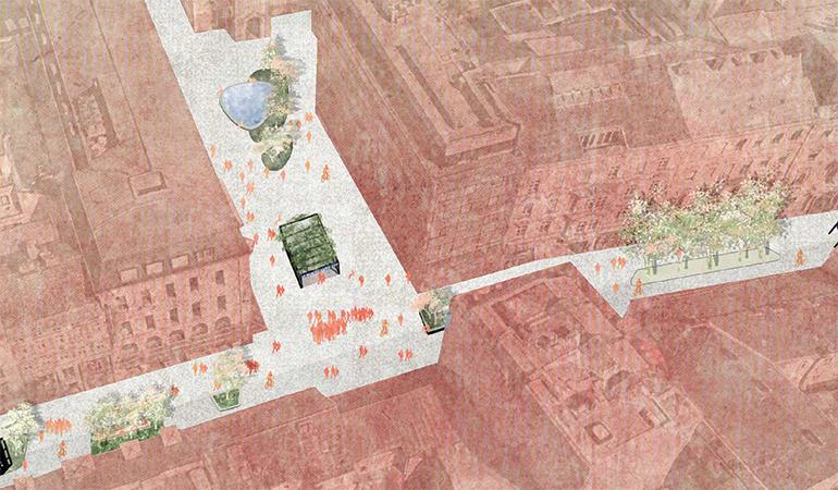 Die Landstraße ohne Straßenbahn würde viel Platz für neue Möglichkeiten bieten.