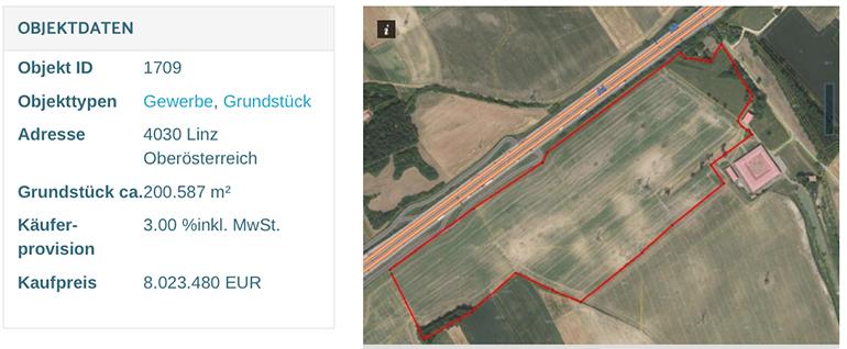 Das 20 Hektar große Thalfeld liegt direkt an der Westautobahn. (Screenshot: willhaben.at)