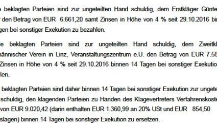 """Ersturteil: Demoveranstalter von """"Linz gegen Rechts"""" müssen nach Randale 23.263,45 zahlen"""