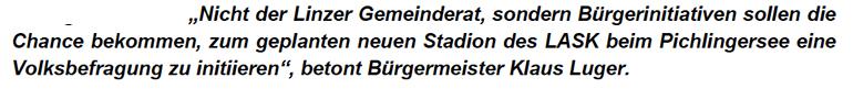 """Luger im Jänner 2019: """"Die Bürgerinitiativen sollen eine Chance bekommen, eine Volksbefragung zu initiieren."""""""