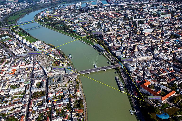 Die Kepler-Seilbahn würde die Donau zweimal überqueren.