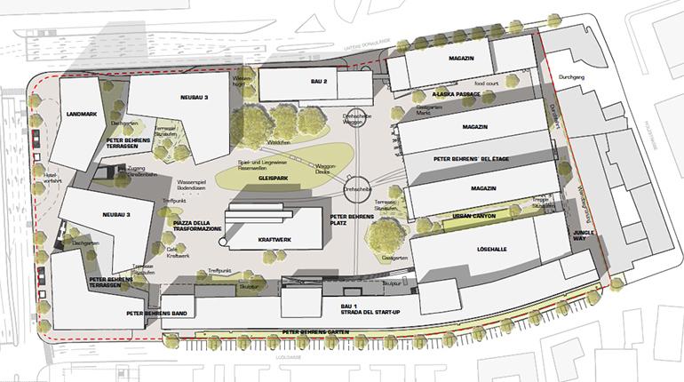 Entwurf der neuen Tabakfabrik inklusive Grünzonen und 'Urban Canyon'. (Visualisierung: Korbwurf Landschaftsarchitektur)