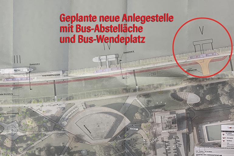 Dieser Plan des Magistrats illustriert das Vorhaben im Donaupark: Neben einer neuen Zufahrtsstraße soll ein Bus-Wendeplatz und ein weiteres Ponton direkt vor dem Arcotel Linz entstehen.