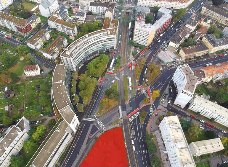 Der Bulgariplatz mit der geplanten Fläche (rot) des Bulgarien-Towers.